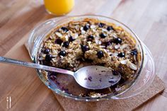 Baked Oatmeal with Almonds and Blueberries #breakfast