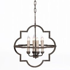 Combining a classic shape with a rusty black finish, the Athena chandelier offers an innovative take on a popular neo-gothic motif.