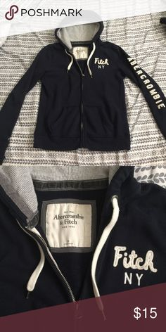 Abercrombie & fitch Abercrombie & fitch sweater size medium and navy blue in color hardly worn and in excellent condition Abercrombie & Fitch Jackets & Coats