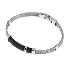 Bracelet homme, or jaune, acier, 0.07g, Style moderne - Manège à Bijoux