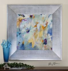 A silver leaf frame with a light brown and black wash accent this print with its glorious pastel colors. On our showroom floor now! Uttermost Mirrors, Metal Wall Art, Pastel Colors, Fine Art Prints, Art Pieces, Original Paintings, Canvas Art, Wall Decor, Frame