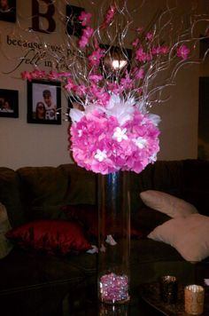 tall centerpiece   I got everything from Michaels! The vases are 18 in tall. I also have 10 in. tall vases, since Im making short versions of these for every other table! The flowers are silk hydragnias!  Found on Weddingbee.com Share your inspiration today!