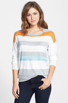 Boatneck Stripe Sweater by Vince Camuto