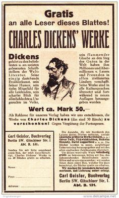 Original-Werbung/ Anzeige 1926 - CHARLES DICKENS'  WERKE / BUCHVERLAG CARL…