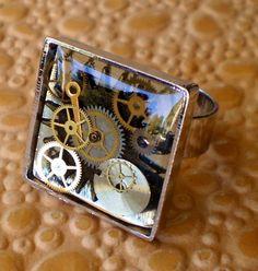 Square Gear Steampunk Resin Ring by marokel on Etsy