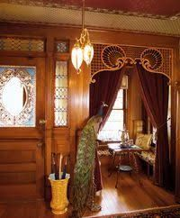 The dominant entry hall deserves special attention with its wainscot or paneling, fireplace, and built-ins. Embossed Lincrusta-Walton wallcovering was popular, as were damask and velour. Patterns were exotic, Japanese or Moorish by way of English interpre Victorian Interiors, Victorian Furniture, Victorian Design, Victorian Decor, Victorian Architecture, Victorian Homes, Interior Architecture, Folk Victorian, Vintage Furniture