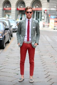 Red Pants and Tie, Gray Seersucker Blazer, and Gray Tassel Loafers. Men's Spring Summer Fashion.