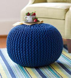 Another great find on Blue Hand-Knitted Pouf Ottoman by Plow & Hearth Pouf En Crochet, Beau Crochet, Knitted Pouf, Crochet Motifs, Knitted Ottoman, Hand Knitting, Knitting Patterns, Crochet Patterns, Pouf Bleu