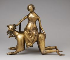 Aquamanile in the Form of Aristotle and Phyllis, late 14th century  South Lowlands  Copper alloy