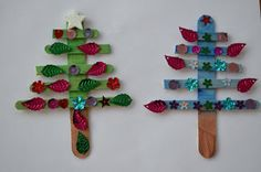 Fun for kids!  Popsicle Stick Christmas Tree Ornaments