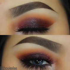 """Burgundy smokey eye.  My friend @doseofashley gave me this idea. Much thanks to her.   Brows: @anastasiabeverlyhills Dipbrow in """"Dark Brown"""". Eyes: For the transition shade I used @anastasiabeverlyhills """"Orange Soda"""". On the lid I used @bhcosmetics Galaxy chic palette which the shade was """"Aphrodite"""". On the middle of the lid I used @colourpopcosmetics single shadow """"Friskie"""". Lashes: @vegas_nay """"Grand Glamour"""". Lens: @desioeyes """"Icy Blue"""". by khouiexlee"""