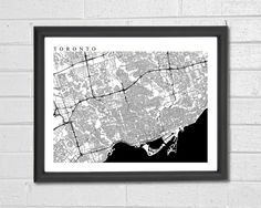 Toronto Map Art Map Print Ontario Canada by TheMapCollection  8x10 $25.55, 16x20 $63.88