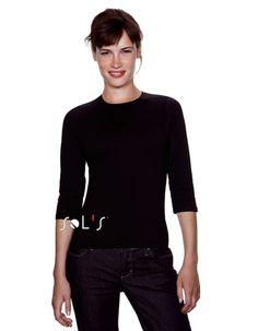 Sols Damen 3/4 Arm Shirt T-Shirt S M L XL schwarz weiß | eBay