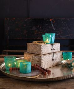 Jayson Home Spring Summer 2012 catalog, featuring the Turquoise Tealight Holders and Washed Seagrass Boxes.