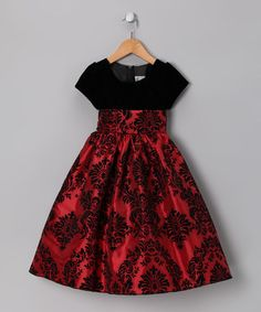 Take a look at this Red & Black Damask Velvet Dress - Infant, Toddler & Girls by Perfectly Pretty: Girls' Dresses on today! Girls Fancy Dresses, Girls Christmas Dresses, Little Dresses, Little Girl Dresses, Cute Dresses, Toddler Dress, Baby Dress, Infant Toddler, Toddler Girls