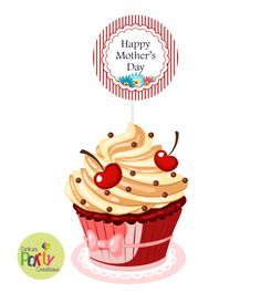 Mother's Day Cupcake Topper Picks- Cupcake Topper Mother's day Circle by DrikasPartyCreations on Etsy
