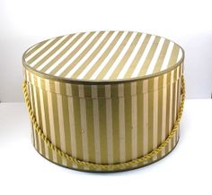 Metalic Gold and Cream Striped Hat Box Vintage by VintageCreekside, $25.00