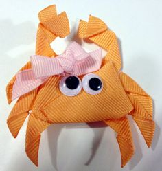 Crab Ribbon Sculpture Hair Clip on Etsy, $7.00