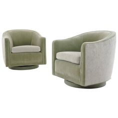 Pair of Barrel Back Swivel Lounge Chairs by Edward Wormley for Dunbar