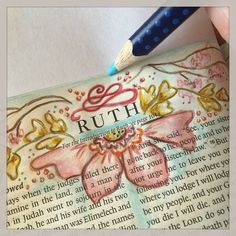 The book of #Ruth is one of my favorites! I have been working on it off and on all week when I had down time. I just wanted to share a small tip that I use. I try to always put a piece of clean paper behind the page I am working on... It helps to keep the edges of my bible clean as I do the edges and helps with any possible bleed through. Just thought I would share! #bibleart #biblejournaling #biblejournalingcommunity #journalingbible #journalingbiblecommunity #illustratedfaith #bookofruth…