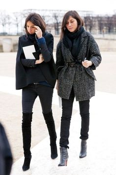 Winter..bring it on..in style! casual weekend, layered look. Scarf, knee high boots, cape coats, belted jackets, skinned jeans and ankle boots.