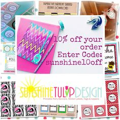 Check out sunshinetulipdesign.com for super cute party printables such as cupcake toppers & tags for birthdays, anniversaries, teacher appreciation and MORE! Use this coupon code towards your purchase!  Happy Shopping! - Christina : )