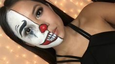 EASY Halloween Makeup | Half Clown Face Tutorial