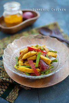Turmeric Chicken: or ayam masak kunyit. It's a simple stir-fry dish that anyone can make at home, and takes less than 30 minutes to make.