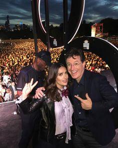 """Salma Hayek and Stephen Colbert rocking at the Global Citizen Festival. """