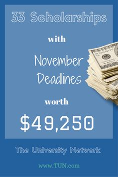Here are 33 scholarships with November deadlines t Financial Aid For College, College Planning, Education College, Financial Literacy, Higher Education, School Scholarship, Scholarships For College, Graduate School, College Students