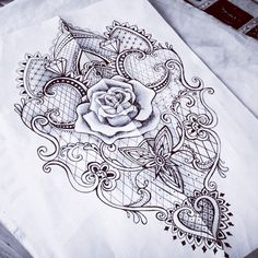 Lace rose baroque mantra tattoo for half sleeve or lower leg
