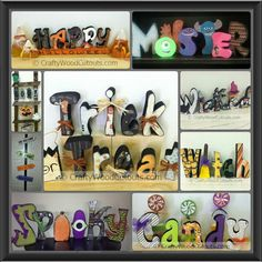 Wood craft decoupage Halloween decoration letters Halloween Wood Crafts, Cute Halloween, Holiday Crafts, Halloween Ideas, Holiday Ideas, Halloween Decorations, Paper Mache Letters, Wood Letters, Crafts To Make