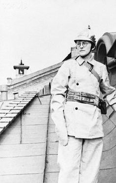 Russian composer and pianist Dmitry Shostakovich in the uniform of Leningrad Conservatory's auxiliary firefighter unit, October, 1941. When Germany invaded, he had attempted to join the Red Army, but was refused because of his poor eyesight. He uniformed up for the auxiliary fire service instead. This photo would have been made for laudatory news/propaganda publication.