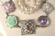 OOAK Lavender Purple & Mint Green Vintage Cluster Earring Bracelet, White Ivory Pearl and Rhinestone Silver Bridesmaids Bracelet Gift