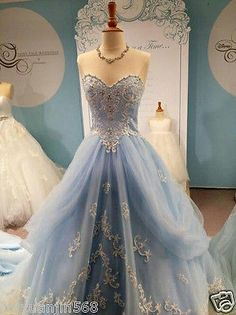 Light Blue Quinceanera Dresses Ball Gown Custom Made Formal Prom Party Gowns New