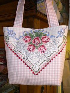 Vintage Hankie appliqued on a purse/tote bag Find vintage hankies here: http://www.nanaluluslinensandhandkerchiefs.com/