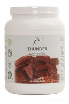 Thunder™ is a 24-Karat Chocolate meal replacement shake made with organic whey protein, vitamins, minerals, and a broad spectrum of probiotics, enzymes, and apple fiber. Each canister contains 28 servings.