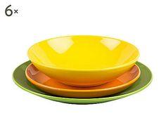 KALEIDOS  : servizio di piatti in gres giallo e verde - 18 pezzi