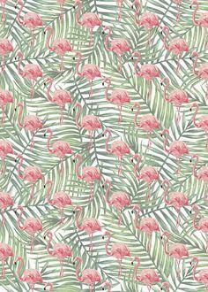 Flamingo Wrapping Paper Sheet, Flamingo Palm Leaf Gift Wrap, Flamingo Palm Leaf Craft Paper, Flamingo Scrapbook Paper, Flamingo Paper