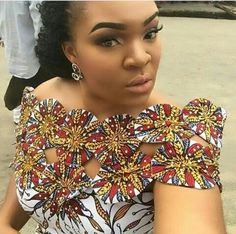 The Most Latest Ankara Top Styles Suitable for Your Palazzo, Bootcut, Office Skirt and Denim Trousers. African Dresses For Women, African Print Dresses, African Print Fashion, Africa Fashion, African Attire, African Fashion Dresses, African Women, Ghanaian Fashion, African Blouses