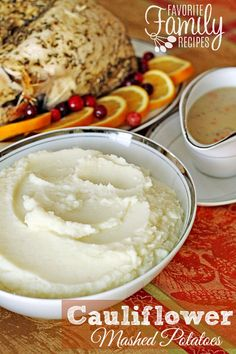 These cauliflower mashed potatoes are always a hit! They taste and texture of regular mashed potatoes but almost HALF the calories!