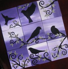 purple black and silver bird paintings painting abstract art tree of life with bird silhouettes on multiple canvases small gift present move via Etsy