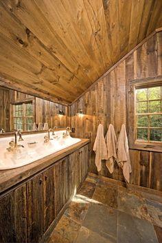 #Rustic master bathroom design - beautiful floors and sink. #rusticmasterbath