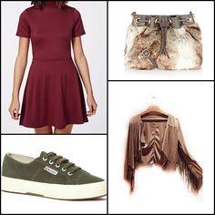 Kerry high neck skater #dress #OXBLOOD @missguidedcouk ~~ Fur across body #bag @accessorizeespa @accessorizegb ~~ Lightweight tennis #shoe @supergaita ~~ Fringe jacket #ethnicville ~~.