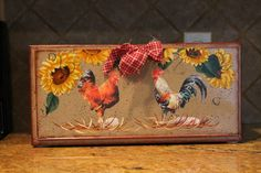 Roosters and Sunflowers Breadbox Upcycled Vintage Roosters/Hens..Kitchen Decor...Home Decor. Rooster Kitchen...Chicken Collector..