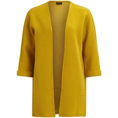 VINAJA - CARDIGAN - Vila (445 EGP) ❤ liked on Polyvore featuring tops, cardigans, loose tops, yellow top, loose fitting tops, open front cardigan and vila