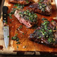 Salsa verde, a Mediterranean condiment flavored with anchovies, capers, and herbs, partners nicely with seared, medium-rare lamb chops.