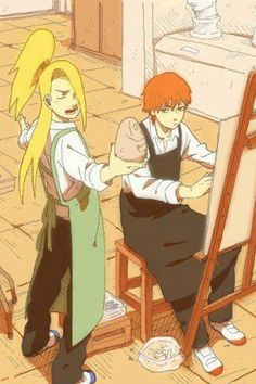 Deidara lecturing Sasori about art and explosions. Nothing new here.