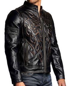Affliction Black Premium - REBELLIOUS - Men s Leather Biker Jacket MOTO -  Black fdcb2c77f8