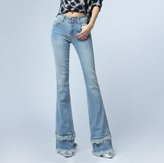 http://fashiongarments.biz/products/double-tassel-selvage-slim-fit-flare-jeans-woman-sexy-push-up-jeans-pants-ol-style-plus-size-skinny-bell-bottom-jeans-female/,   100% New Brand Color:Light Blue Fabric: Cotton and Polyester Season:  Spring; Autumn; Winter 1. Size: This is Chinese size,  smaller than US/European size. You can refering to your waist and hips, or leave us a message to ask us for help.It is our pleasure to help you. 2. Color: Different computer screen can display…